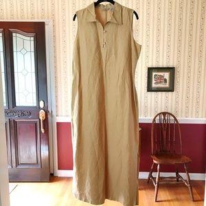 Eddie Bauer Maxi Dress Linen Silk Sleeveless 14